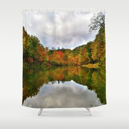 Reflection Photo at Fish Pond Lake outside of Jenkins, Kentucky Shower Curtain