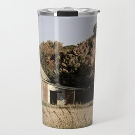 Patriotic Barn in Field Aged Effect Rural / Rustic Landscape Photo Travel Mug