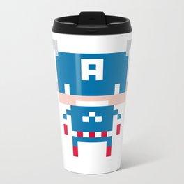 Pixel Captain America Metal Travel Mug
