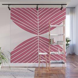 Minimal Fall Leaf - Soft Berry Wall Mural