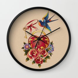 Old school True Love Lock and Key tattoo Wall Clock