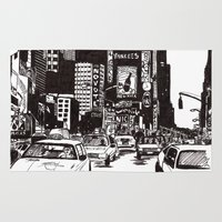 new york Area & Throw Rugs featuring New York New York by Bianca Green