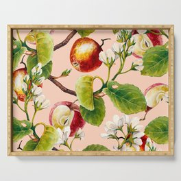 White apple blossoms and apples Serving Tray