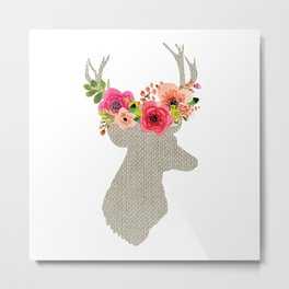 Deer with flowers Metal Print