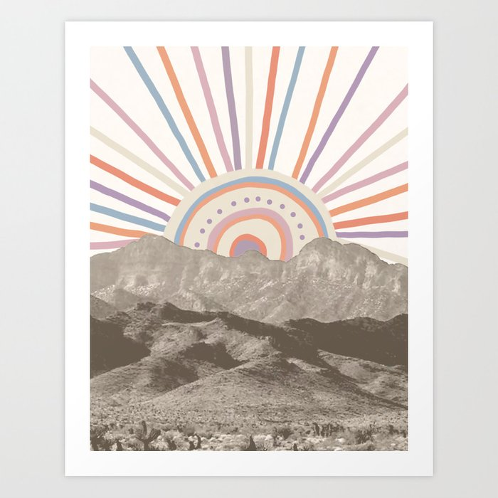 Bohemian Tribal Sun UP / Abstract Vintage Mountain Happy Summer Vibes Retro Colorful Pastel Artwork Art Print
