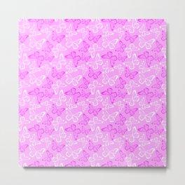 Pretty Pink Butterfly Pattern Metal Print