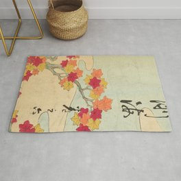 Vintage Japanese Maple Leaf and River Print Rug