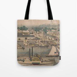 Vintage Pictorial Map of The 6th Street Wharf - Washington DC Tote Bag