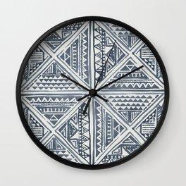 Simply Tribal Tile in Indigo Blue on Lunar Gray Wall Clock