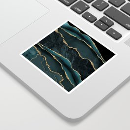 Teal And Gold Marble Waves Sticker