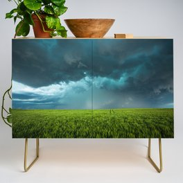 April Showers - Colorful Stormy Sky Over Lush Field in Kansas Credenza