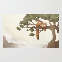red panda Area & Throw Rugs featuring Red Panda  by OLLIE HARPER