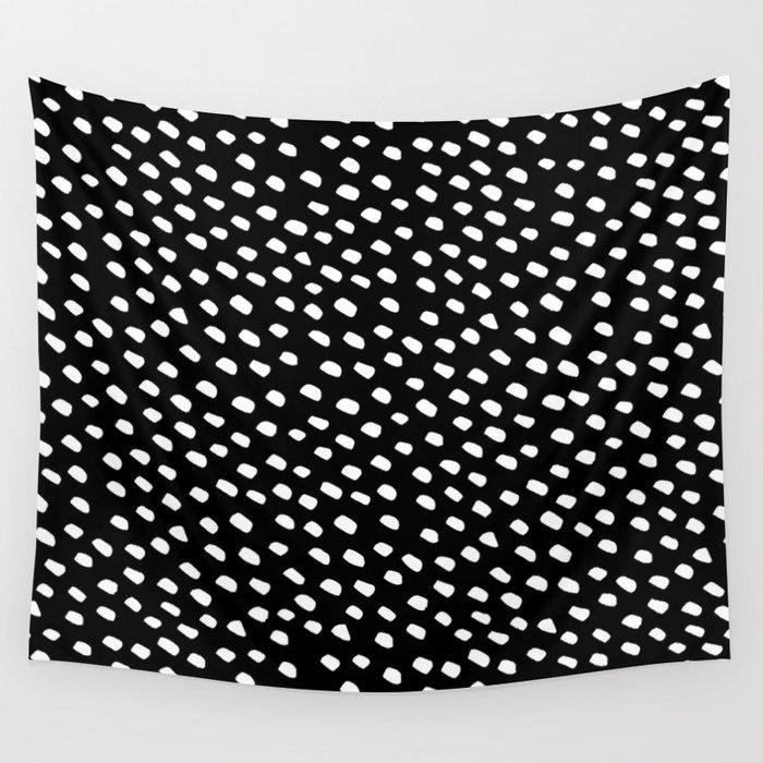 Brush Dot Pattern Black Wall Tapestry