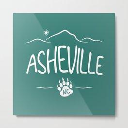 Asheville, NC - Black Bear Paw - AVL 14 White on Green Metal Print