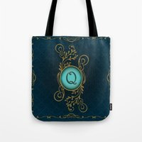 monogram Tote Bags featuring Monogram Q by Britta Glodde