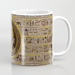 Pyrographed Golden Nefertiti on wood Coffee Mug
