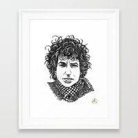 bob dylan Framed Art Prints featuring Bob Dylan by The Curly Whirl Girly.