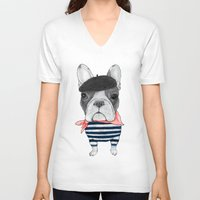 french bulldog V-neck T-shirts featuring French Bulldog. by Barruf