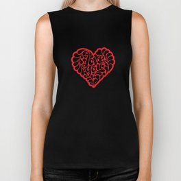 Red Love You Heart Quote Biker Tank