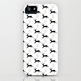 Jumping Deer and Pinecone Rustic Illustrated Print iPhone Case