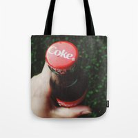 coke Tote Bags featuring Vintage Coke by Elise Giordano
