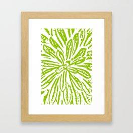 Chartreuse Flower Linocut Textile Framed Art Print