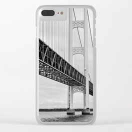 Mackinac Bridge, black and white photography Clear iPhone Case