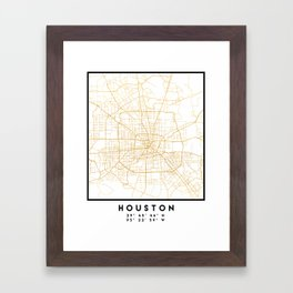 HOUSTON TEXAS CITY STREET MAP ART Framed Art Print