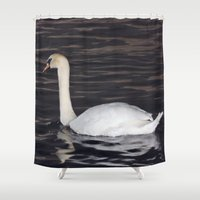 black swan Shower Curtains featuring Swan by WonderfulDreamPicture