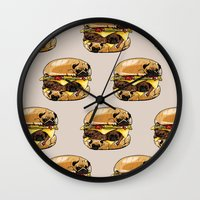 burger Wall Clocks featuring Pugs Burger by Huebucket