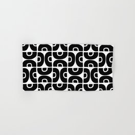 Groovy Mid Century Modern Pattern Black and White Hand & Bath Towel