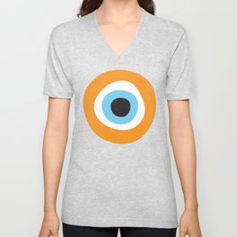 Orange Evil Eye Symbol Unisex V-Neck