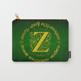 Joshua 24:15 - (Gold on Green) Monogram Z Carry-All Pouch
