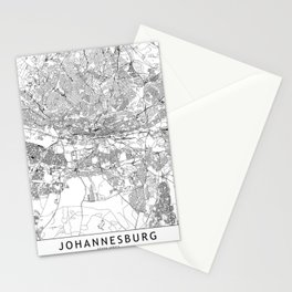 Johannesburg White Map Stationery Cards