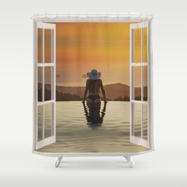 Sexy At The Edge Of the Pool | OPEN WINDOW ART Shower Curtain