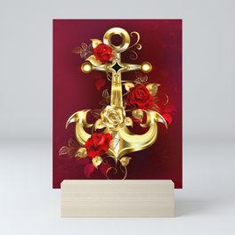 Golden Anchor with Roses Mini Art Print