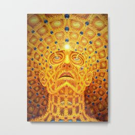 Golden Psychedelic Head Metal Print