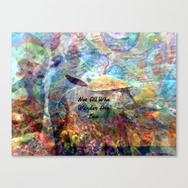 Not All Who Those Wander Are Lost Inspirational Quote With Beautiful Sea Turtle Painting Canvas Print