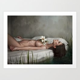 White lies and black beaches Art Print