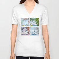 seoul V-neck T-shirts featuring Seoul Tower Seasons - Square by Zayda Barros