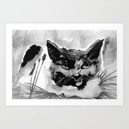 Black and white Kitty Art Print