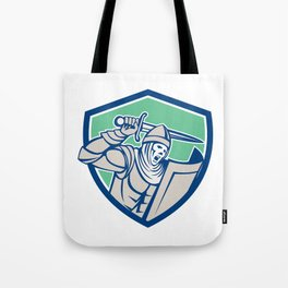 Knight With Sword and Shield Retro Tote Bag