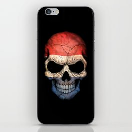 Dark Skull with Flag of The Netherlands iPhone Skin