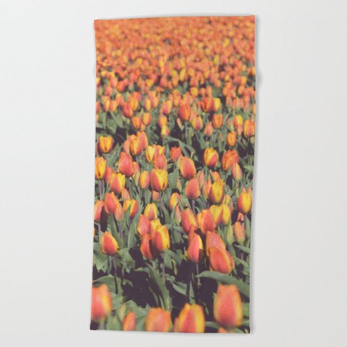 Tulips field #1 Beach Towel