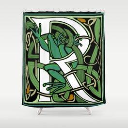 Celtic  Nouveau Frog Letter R 2018 Shower Curtain