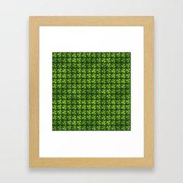 Irish Shamrock -Clover Green Glitter pattern Framed Art Print