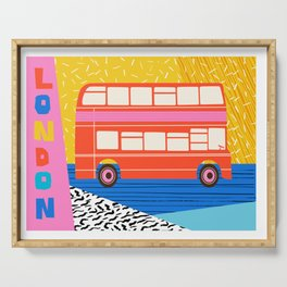 Uncle Gus - london art print, double decker bus art print, anglophile, wacka, 80s, Serving Tray