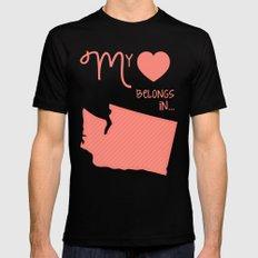My Heart Belongs in Washington Mens Fitted Tee MEDIUM Black