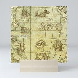 Here Be Monsters Map Mini Art Print