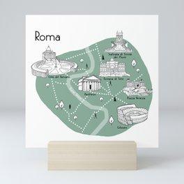 Mapping Roma - Green Mini Art Print
